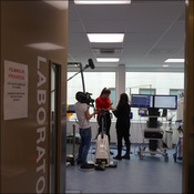 Sneak peak of the filming through the ISEH lab doors